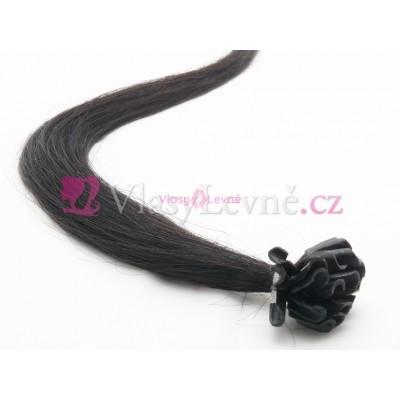 001 - Uhlově černé vlasy k prodloužení - Keratin , 50cm, 25 pramenů