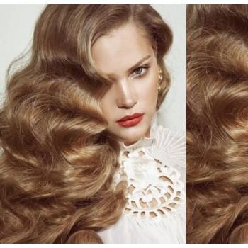 Clip in lidské vlasy 53cm, vlnité  - SVĚTLE HNĚDÉ