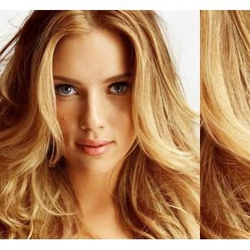 Clip in lidské vlasy 53cm, vlnité  - PŘÍRODNÍ BLOND