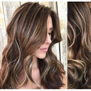 Clip in lidské vlasy 53cm, vlnité  - TMAVÝ MELÍR