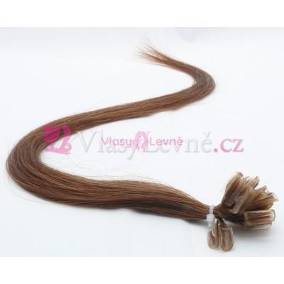 006 - Hnědé vlasy k prodloužení - Keratin , 50cm, 25 pramenů