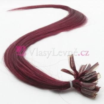 BG - Burgundské vlasy k prodloužení - Keratin, 50cm, 20 pramenů