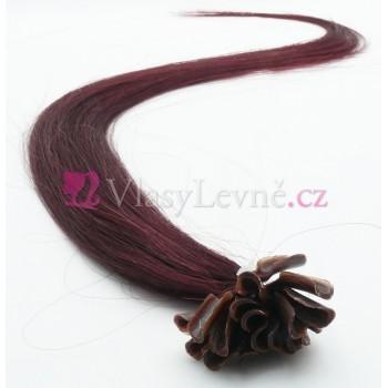 099J - Fialovo-hnědé vlasy k prodloužení - Keratin, 50cm, 20 pramenů