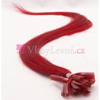 RED - Červené vlasy k prodloužení - Keratin , 50cm, 20 pramenů