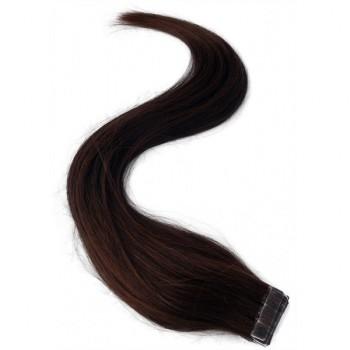 Středně hnědé vlasy k prodloužení - Tape-in REMY proužky, 50 cm (004), 20 ks