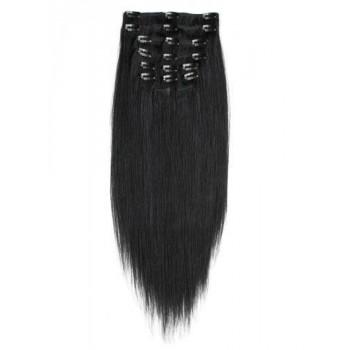 Uhlově černé, lidské vlasy k prodloužení - Clip-in, set