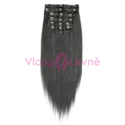 001B - Přírodně černé, lidské vlasy k prodloužení - Clip in, set 10 ks, 50 cm, REMY
