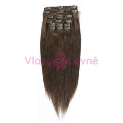 004 - Středně hnědé, lidské vlasy k prodloužení - Clip in, set 10 ks, 50 cm, REMY
