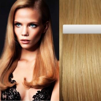 Tmavé blond vlasy k prodloužení - Tape-in REMY proužky, 50 cm (027), 20 ks