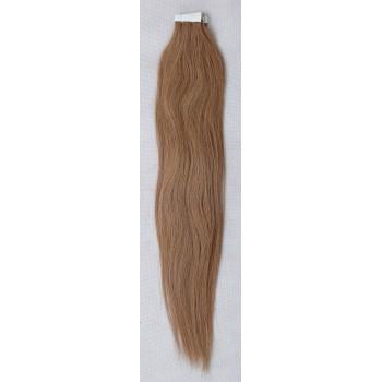 Světle hnědé vlasy k prodloužení - Tape in REMY proužky, 50 cm (012), 20 ks