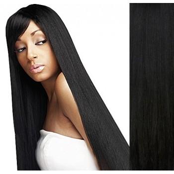 Clip in lidské vlasy 43cm 100g  - ČERNÉ