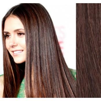 Clip in lidské vlasy 43cm 100g  - STŘEDNĚ HNĚDÉ