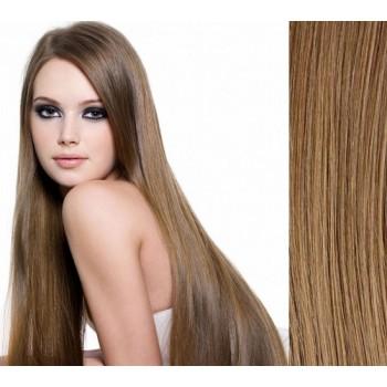 Clip in lidské vlasy 43cm 100g  - SVĚTLE HNĚDÉ