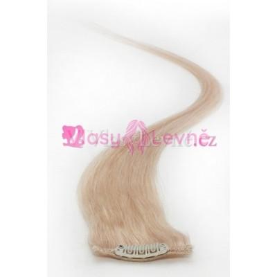 060 - Platinové, lidské vlasy k prodloužení - Clip in, 50 cm