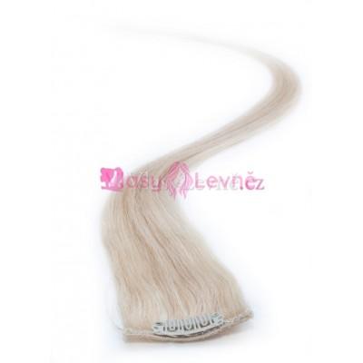 613 - Nejsvětlejší blond, lidské vlasy k prodloužení - Clip in, 50 cm