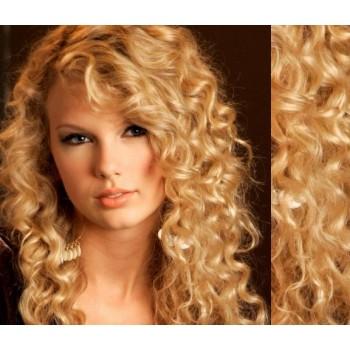 Tape in vlasy 53cm lidské, kudrnaté - PŘÍRODNÍ BLOND