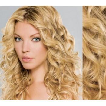 Tape in vlasy 53cm lidské, kudrnaté - PŘÍRODNÍ/SVĚTLEJŠÍ BLOND
