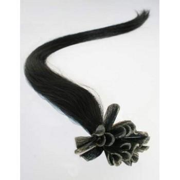 Keratinové vlasy, 100% lidské, 40cm 0.5g, rovné - ČERNÁ