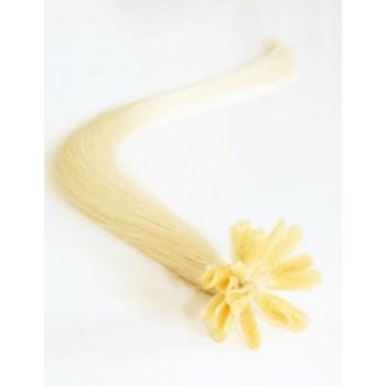 Keratinové vlasy, 100% lidské, 40cm 0.5g, rovné - NEJSVĚTLEJŠÍ BLOND