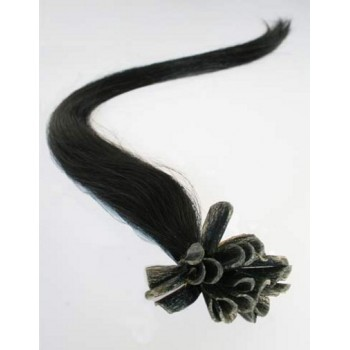 Keratinové vlasy, 100% lidské, 40cm 0.7g, rovné - ČERNÁ