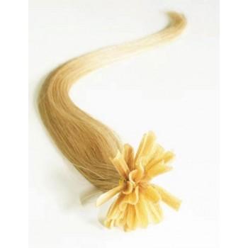 Keratinové vlasy, 100% lidské, 40cm 0.7g, rovné - PŘÍRODNÍ BLOND
