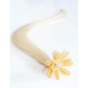 Keratinové vlasy, 100% lidské, 40cm 0.7g, rovné - PLATINA