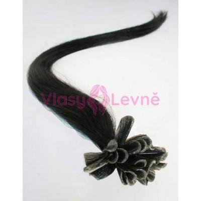 Keratinové vlasy, 100% lidské, 50cm 0.5g, rovné - ČERNÁ