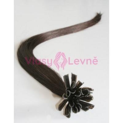 Keratinové vlasy, 100% lidské, 50cm 0.5g, rovné - TMAVĚ HNĚDÁ
