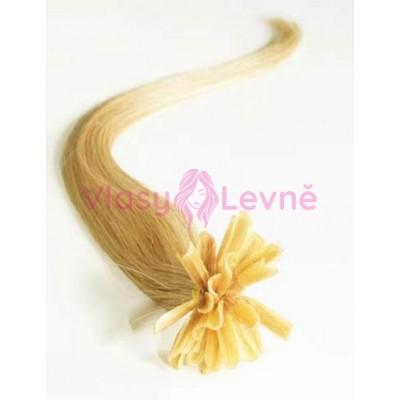 Keratinové vlasy, 100% lidské, 50cm 0.5g, rovné - PŘÍRODNÍ BLOND