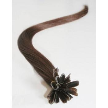 Keratinové vlasy, 100% lidské, 50cm 0.7g, rovné - STŘEDNĚ HNĚDÁ