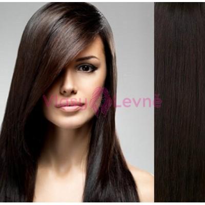 Clip in lidské vlasy 53cm  - TMAVĚ HNĚDÉ