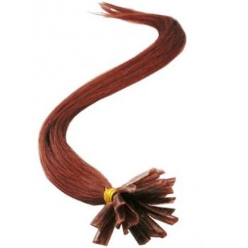 Keratinové vlasy, 100% lidské, 50cm 0.7g, rovné - MĚDĚNÁ
