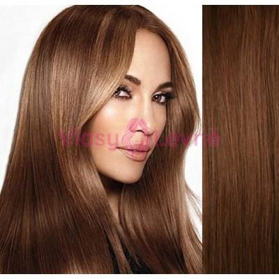 Clip in lidské vlasy 53cm  - SVĚTLEJŠÍ HNĚDÉ