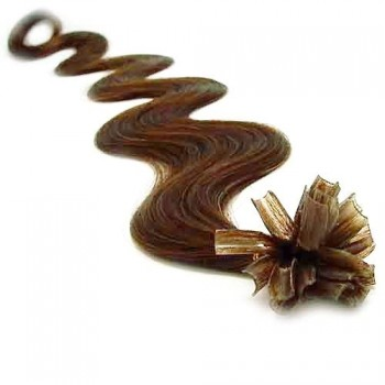 Keratinové vlasy, 100% lidské, 50cm 0.5g, vlnité - SVĚTLEJŠÍ HNĚDÁ