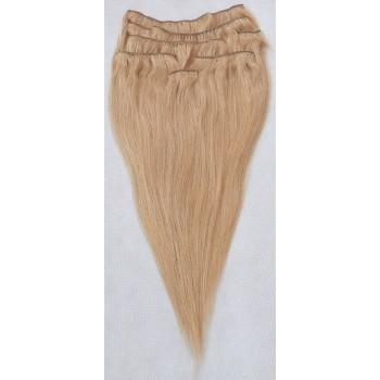 027 - Tmavé blond, lidské vlasy k prodloužení - Clip in, set 8 ks, 50 cm