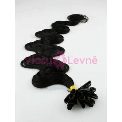 Keratinové vlasy, 100% lidské, 60cm 0.5g, vlnité - ČERNÁ