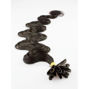 Keratinové vlasy, 100% lidské, 60cm 0.5g, vlnité - PŘÍRODNÍČERNÁ