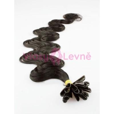 Keratinové vlasy, 100% lidské, 60cm 0.5g, vlnité - PŘÍRODNÍ ČERNÁ
