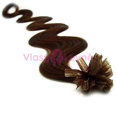 Keratinové vlasy, 100% lidské, 60cm 0.5g, vlnité - TMAVĚ HNĚDÁ