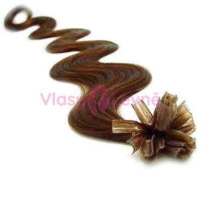 Keratinové vlasy, 100% lidské, 60cm 0.5g, vlnité - SVĚTLEJŠÍ HNĚDÁ