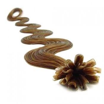 Keratinové vlasy, 100% lidské, 60cm 0.5g, vlnité - SVĚTLE HNĚDÁ