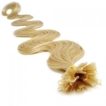 Keratinové vlasy, 100% lidské, 60cm 0.5g, vlnité - PŘÍRODNÍ BLOND