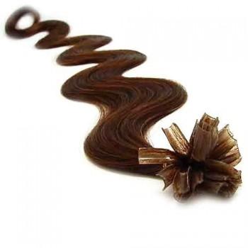 Keratinové vlasy, 100% lidské, 60cm 0.7g, vlnité - STŘEDNĚ HNĚDÁ
