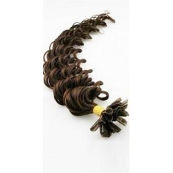 Keratinové vlasy, 100% lidské, 50cm 0.5g, kudrnaté - TMAVĚ HNĚDÁ