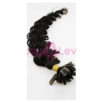 Keratinové vlasy, 100% lidské, 50cm 0.7g, kudrnaté - ČERNÁ
