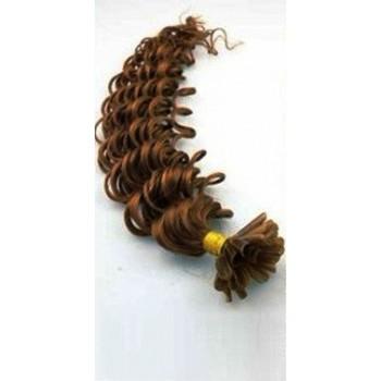 Keratinové vlasy, 100% lidské, 50cm 0.7g, kudrnaté - SVĚTLEJŠÍ HNĚDÁ