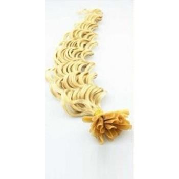 Keratinové vlasy, 100% lidské, 60cm 0.5g, kudrnaté - NEJSVĚTLEJŠÍ BLOND