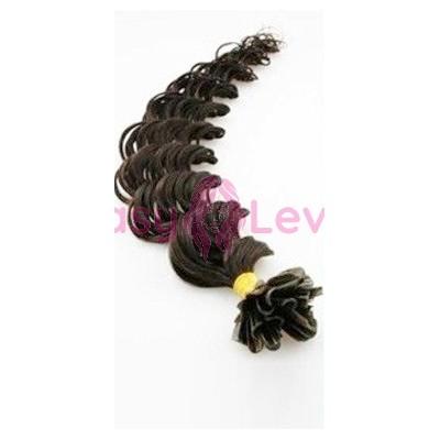 Keratinové vlasy, 100% lidské, 60cm 0.7g, kudrnaté - PŘÍRODNÍ ČERNÁ