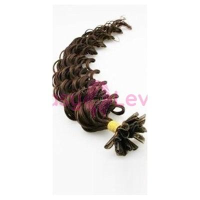 Keratinové vlasy, 100% lidské, 60cm 0.7g, kudrnaté - TMAVĚ HNĚDÁ