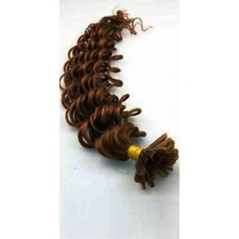 Keratinové vlasy, 100% lidské, 60cm 0.7g, kudrnaté - STŘEDNĚ HNĚDÁ